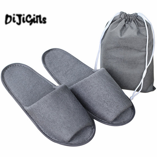 10 pairs\lot Men Travel Business Trip Hotel Club Portable Not Disposable Folding Slippers Boys Home Guest Slippers With Bag