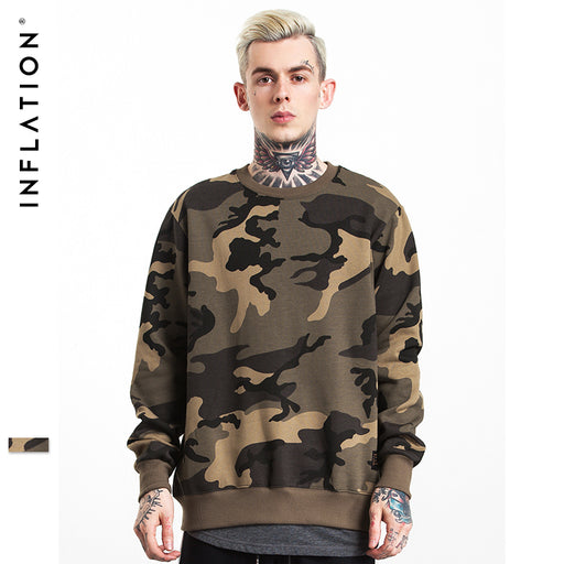 INFLATION 2017 Autumn & Winter Streetswear Hip Hop CAMO Mens Hoodies Orignal Design Camouflage Pullover Sweatshirt