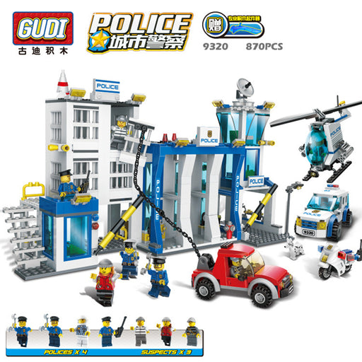 GUDI City police station 870pcs+ Educational diy Building Blocks Kids Toy Compatible With bricks Birthday Gift Brinquedos 9320