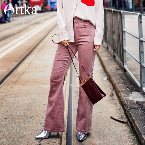 Artka 2017 New City Series Fashion Women Skinny Corduroy Full Length Flare Pants 75% Cotton Solid Pink Zipper Pants JK17032