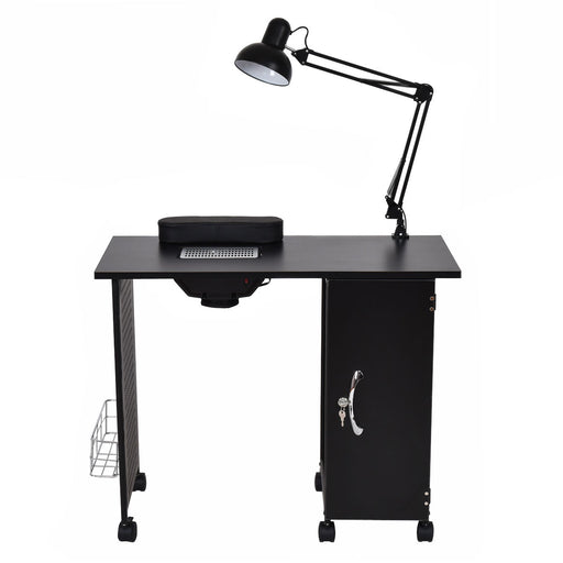 Giantex Manicure Nail Table Station Black Steel Frame Beauty Spa Salon Equipment with Drawers 1 Lamp Salon Furniture HB84910