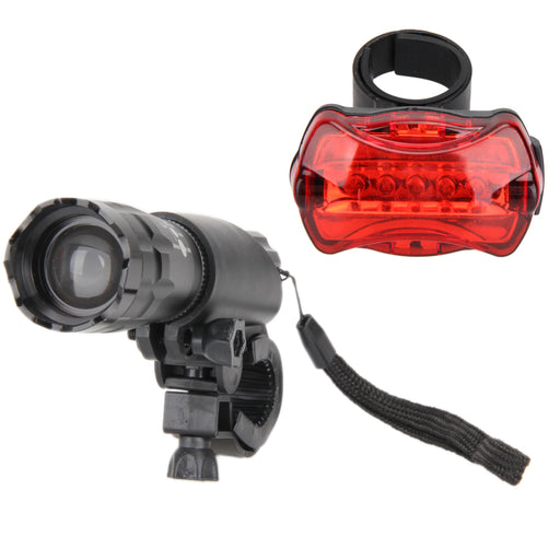 2Pcs Q5 LED Waterproof Bicycle Cycling Torch Lamp Flashlight+ 1Pcs 5 LED Bike Rear Safety Tail Light+ 2Pcs Bicycle Mount Holder