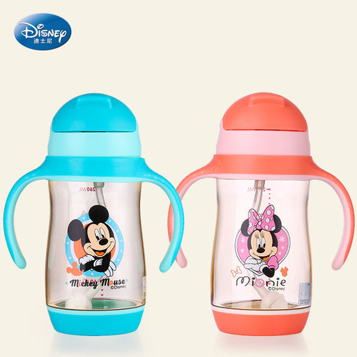Disney 260ML Baby PPSU Feeding Cup Learn Drinking Cup with Handle Baby Drinking Milk With Straw Durable Kettle leak-poof