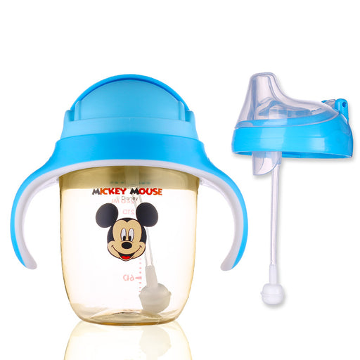 Disney 240ML PPSU Baby Feeding Cup with Straw Kids Learn Drinking Bottle with Handle Gravity Ball Leak-poof Sippy Cup