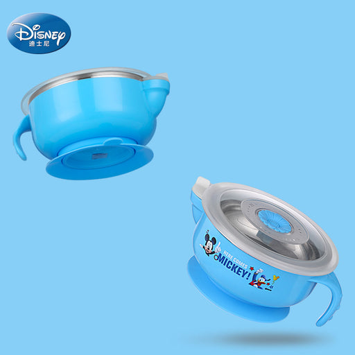 Disney 300ml Baby Tableware Sucker Bowl Stainless Steel Food Lunch Box Thermal Insulation Bowl Heat-resistant Feeding Bowl