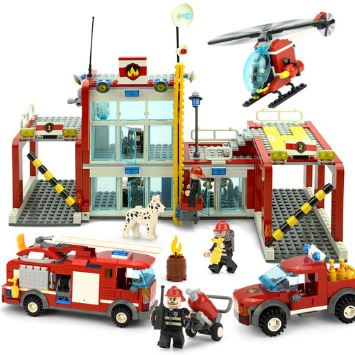 KAZI The Fire Department Rescue With Vehicles Helicopter Building Block Sets Bricks Educational Toys For Children Gifts