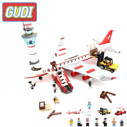 GUDI City Passenger Plane Airplane Blocks Action Building Bricks Model Sets 856pcs DIY Educational Toys For Children