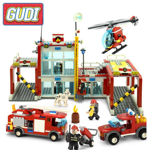 GUDI The Fire Department Rescue With Vehicles Helicopter Action Models Building Block Sets Bricks DIY Toys For Children Gifts