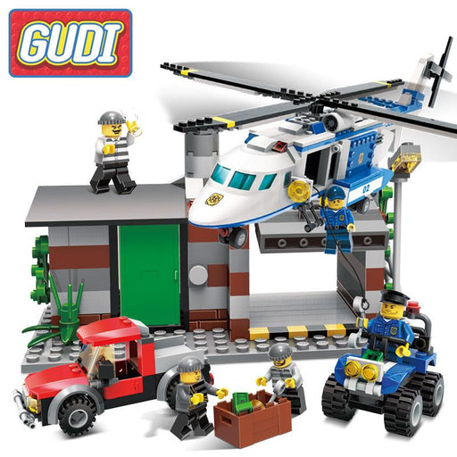 GUDI City Police Series Helicopter Figures Action Model Building Blocks Bricks 2017 Educational Toys For Kids Birthday Gifts