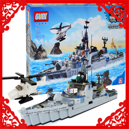 GUDI 8026 Building Block Compatible Legoe Military Marine Frigate 693Pcs Bricks  Figure  Toy Gifts For Children