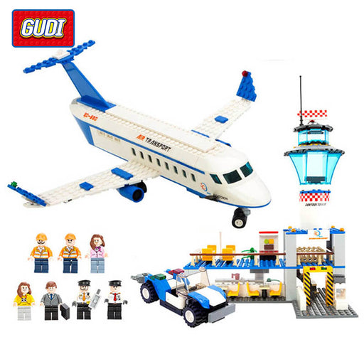 GUDI Blocks City Air Plane Building Blocks International Airport Building Block Educational Toys For Children