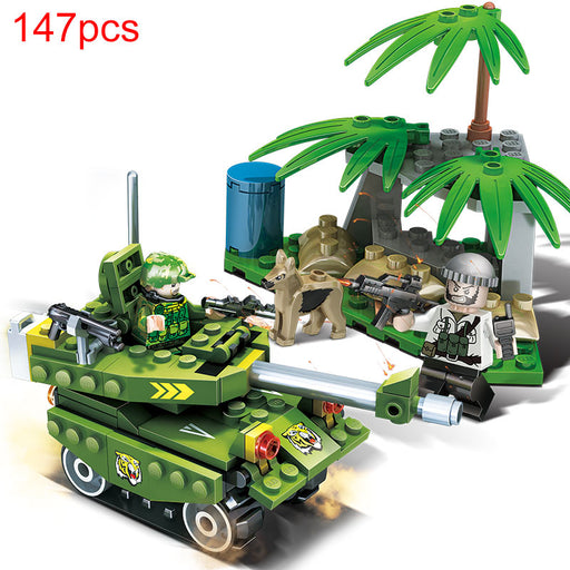 Gudi DIY Military Series Set Tank Car Soldiers With Gun Model Building Blocks Toys Assembled  Building bricks Kits Gift Toys