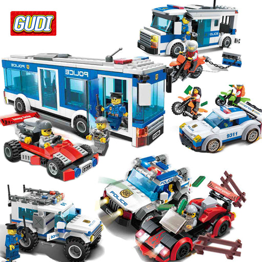 GUDI City Police Blocks Toys for Children Assembled Model Police Car Truck Toys for Kids Boys Educational Toys