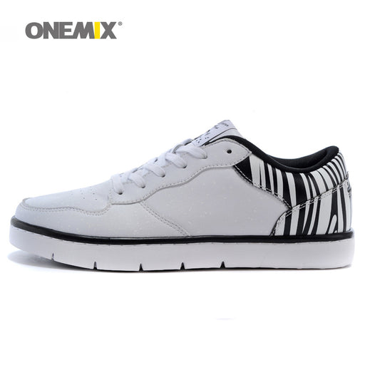 Onemix Man Skateboarding Shoes for Men Classic Nice Skateboard Shoe for Boys White Black Flat Sports Outdoor Footwear Sneakers