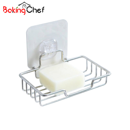 BAKINGCHEF Toilet Soap Storage Rack Stainless Steel Seamless Stickers Wall Mounted Holder Home Organization Accessories Supplies