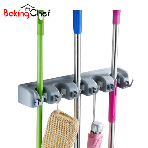 BAKINGCHEF Bathroom Mop Storage Holder Multifunction Broom Cleaning Tools Hook Rack Home Accessories Supplies Gear Items Stuff