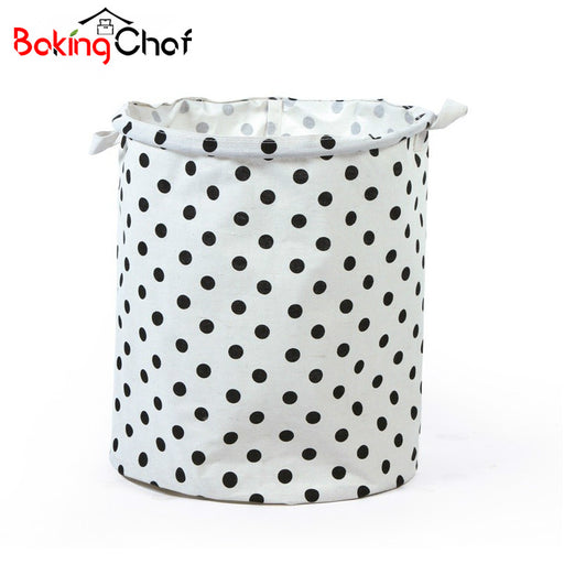 BAKINGCHEF Printed PP Waterproof Film Storage Basket Linen Cotton Washing Laundry Bag For Clothes Organizer Accessories Supplies
