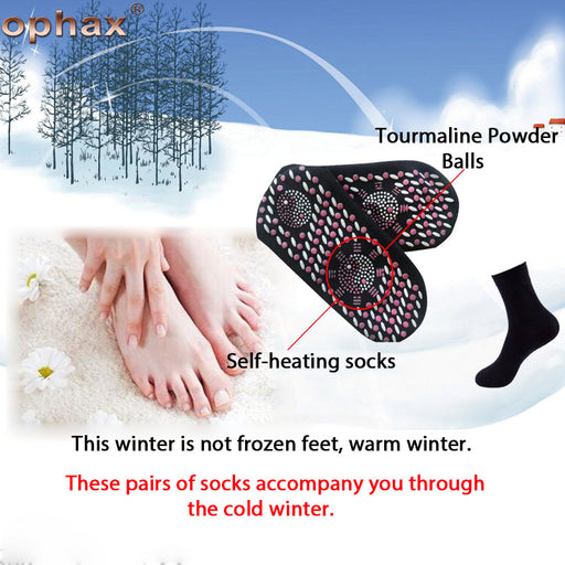 OPHAX 3Pairs Tourmaline Far Infrared Foot massage Socks Anti Cold Antibacterial Sock Anti-icer Warm Feet Foot Care Tool Products