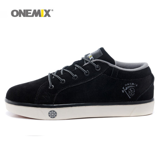 Onemix Man Cow Leather Suede Skateboarding Shoes for Men Classic Nice Skateboard Shoe Boys Black  Flat Sports Footwear Sneakers