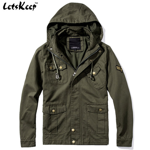 LetsKeep New Spring army bomber jacket men tactical military jacket with hood mens air force one coats plus size S - 5XL, MA232