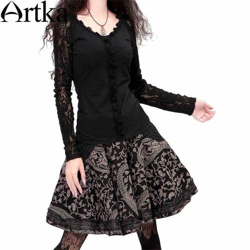Artka Women's Retro Vintage Hugging Waist A Line Embroidery Swing Skirt A06377