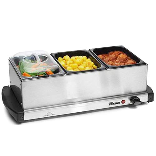 Buffet Server Tristar BP2979 1,5 L x 3 200W Steel Black