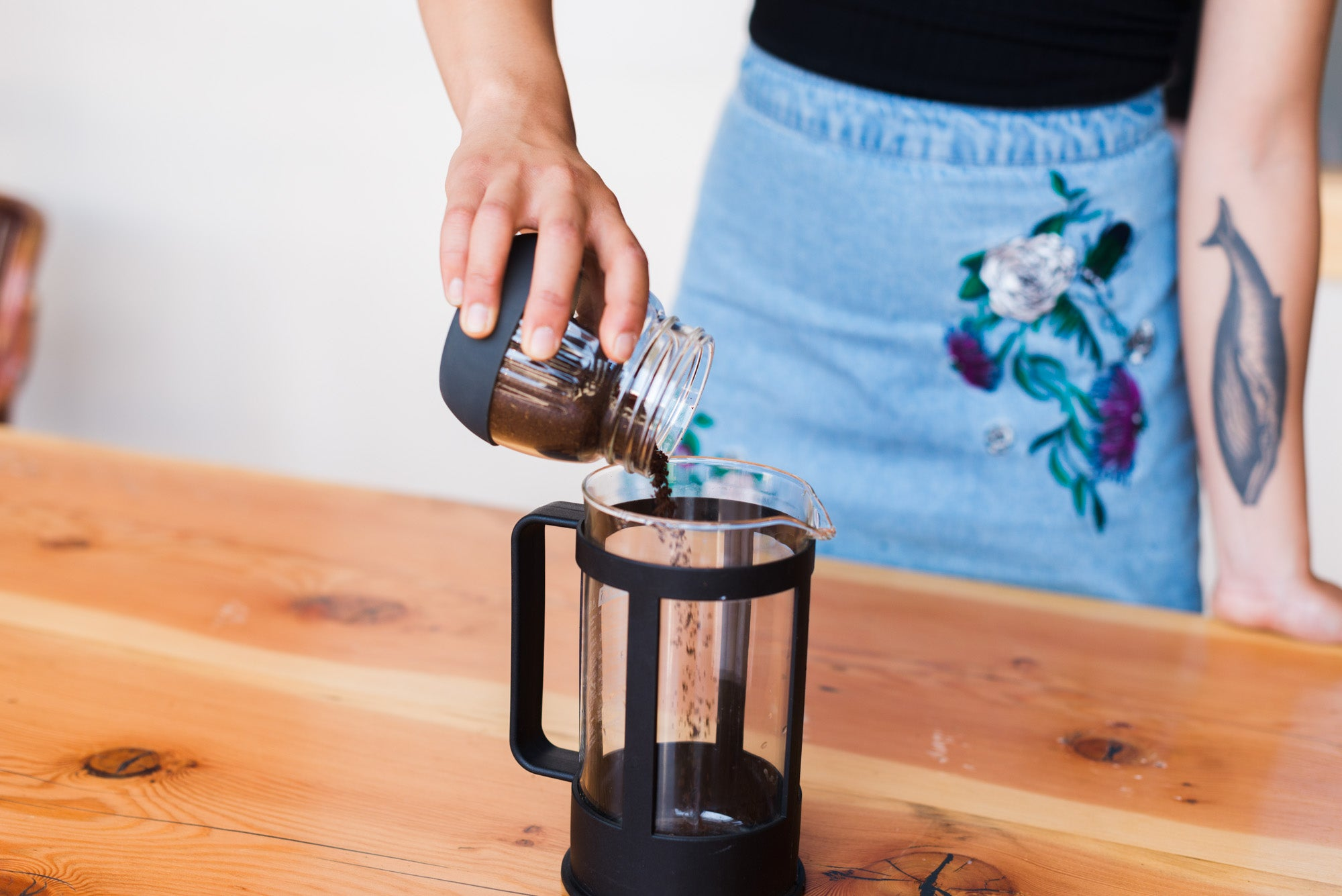 coffee grounds in french press