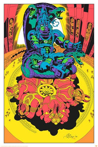 SIGNED Jack Kirby / Barry Geller - Lord of Light Blacklight Print - Royal Chambers of Brahma