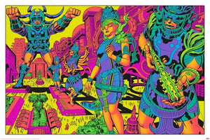SIGNED Jack Kirby / Barry Geller - Lord of Light Blacklight Print - Brahma's Pavilions of Joy