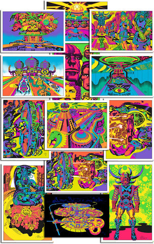 SIGNED Complete Set of 14 Jack Kirby / Barry Geller - Lord of Light Blacklight Prints
