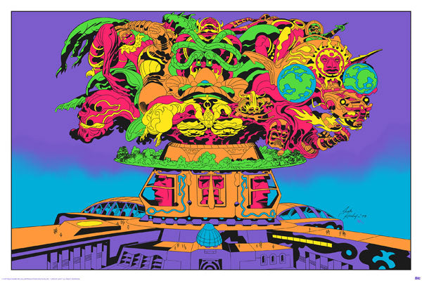 SIGNED Jack Kirby / Barry Geller - Lord of Light Blacklight Print - Brahma Supremacy