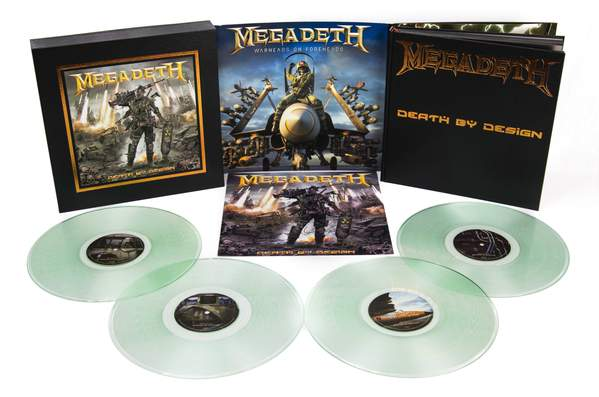 "Megadeth: Death By Design Graphic Novel w/ 4 clear vinyl ""Warheads On Foreheads"" album set signed by Full Band"