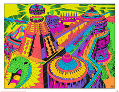 SIGNED Jack Kirby / Barry Geller - Lord of Light Blacklight Print - North East Corner of Heaven