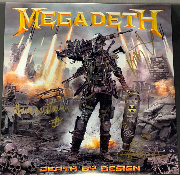 "SDCC SIGNED - Megadeth: Death By Design Graphic Novel w/ 4 clear vinyl ""Warheads On Foreheads"" album set signed by Full Band + 11 Artists"