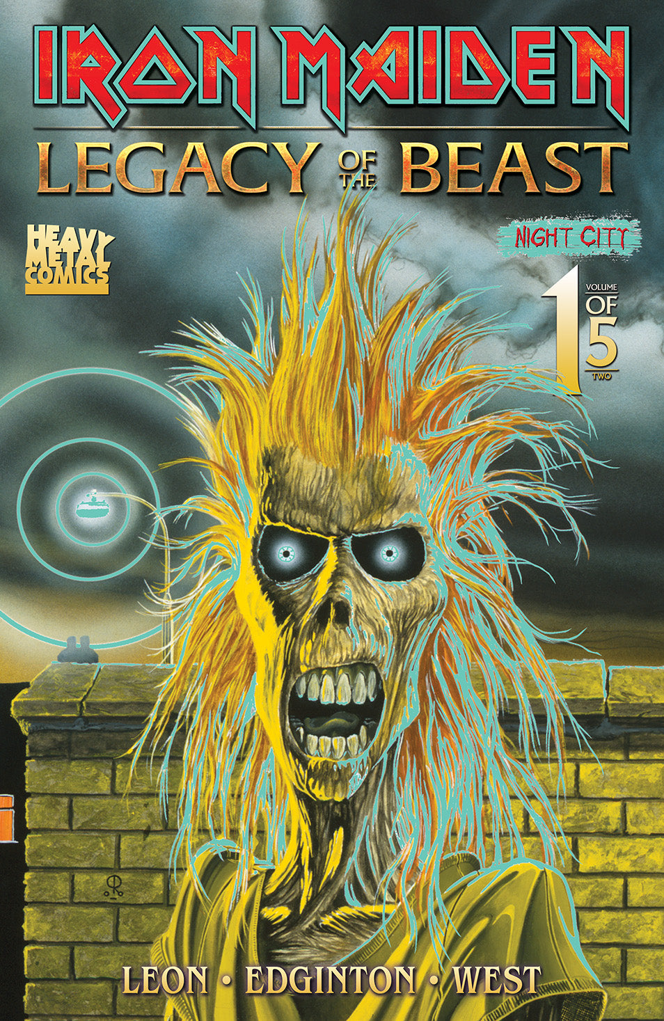 SIGNED (outside cover) San Diego Comic Con Exclusive Iron Maiden: Legacy of the Beast Night City #1 - Glow-In-The-Dark Cover - Signed by Kevin West