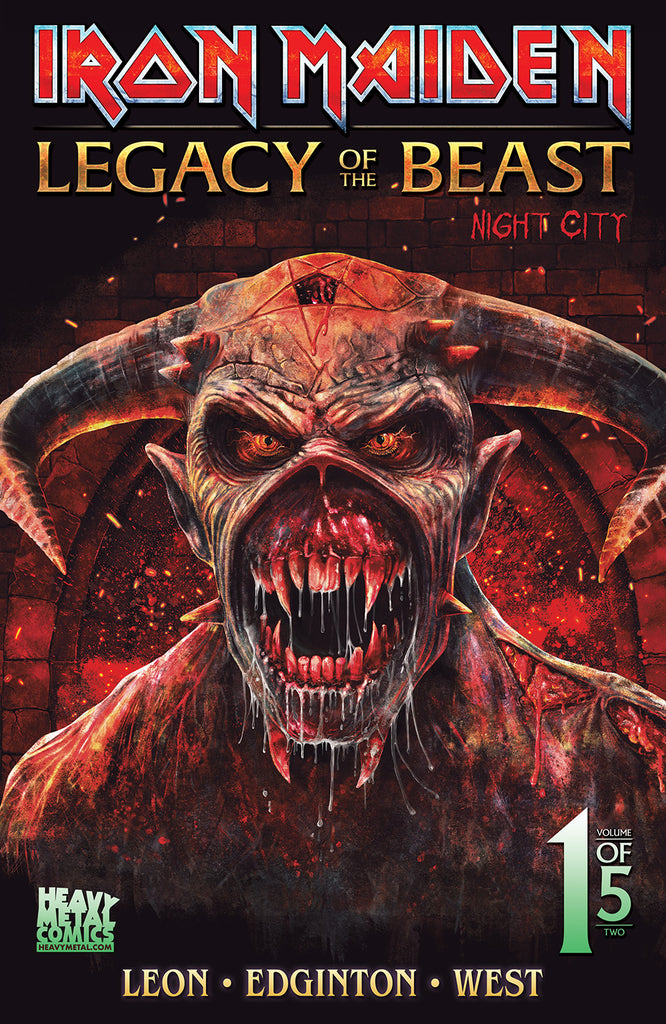 SIGNED 2019 San Diego Comic Con Exclusive Iron Maiden: Legacy of the Beast Night City #1 - Metallic Hightlights Cover - Signed by Kevin West