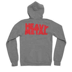 Heavy Metal Red Logo Men's Zip-Up Hoody Sponge Fleece