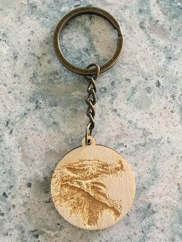 SUNEATER ENGRAVED WOOD KEYCHAIN
