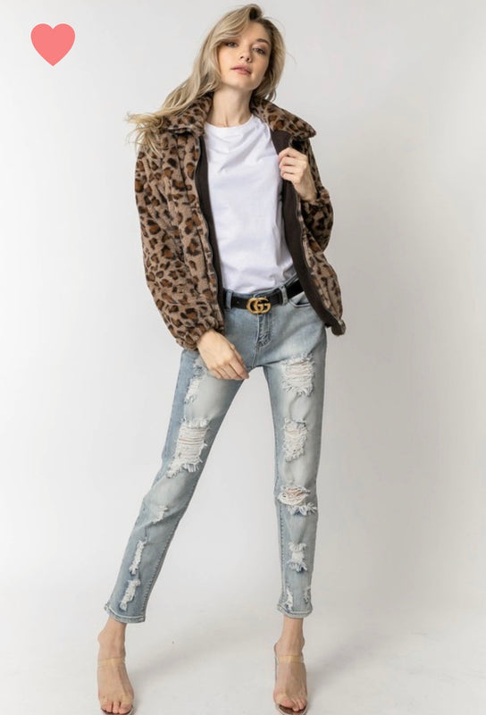 Winter Whisper Leopard Jacket
