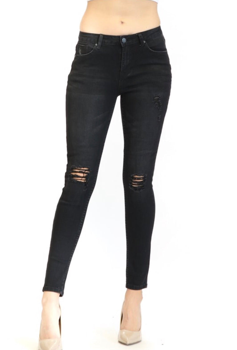 Ashton Black Distressed Skinny Jeans