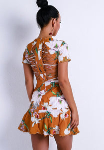 open back floral mini dress with zip closure