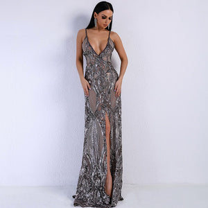 Sheer Sequin V-Neck Maxi Silver