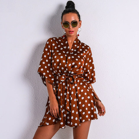 Jelena Polka Dot Wrap Dress Brown