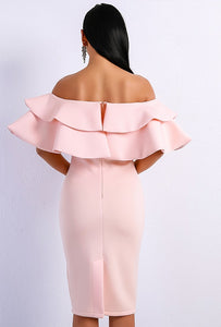Jojo Ruffled Midi Dress Black/Pink - Boss Beauty Boutique