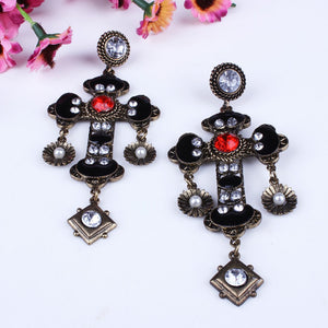 Large Diamante Cross Earrings