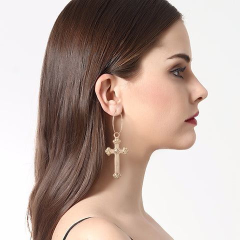 Large Gold Cross Earrings