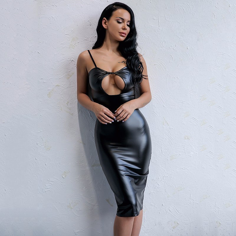 Racy Black Leather Midi Dress - Boss Beauty Boutique