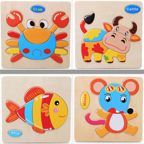 Wooden 3D Jigsaw Animal Puzzles for Kids