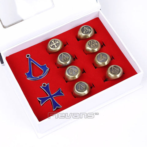 Assassin's Creed Metal Pendants & Rings 10pc/set 3 Colors