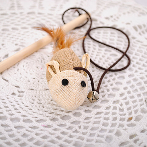 Wooden Pole Hemp Mouse Teaser Cats Toy